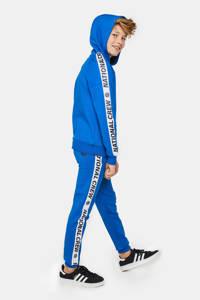 WE Fashion hoodie met contrastbies blauw/wit/zwart, Blauw/wit/zwart