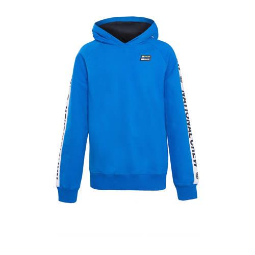 WE Fashion hoodie met contrastbies blauw/wit/zwart