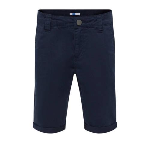WE Fashion straight fit bermuda donkerblauw