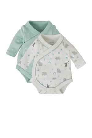 Baby Newborn rompers - set van 2 mintgroen/offwhite