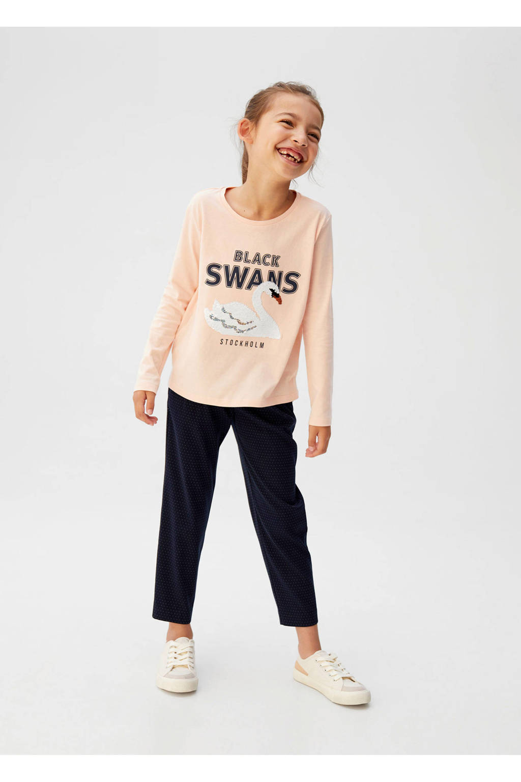 Mango Kids straight fit broek met krijtstreep donkerblauw, Donkerblauw