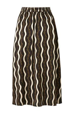 satijnen rok met all over print zwart/ecru/bruin