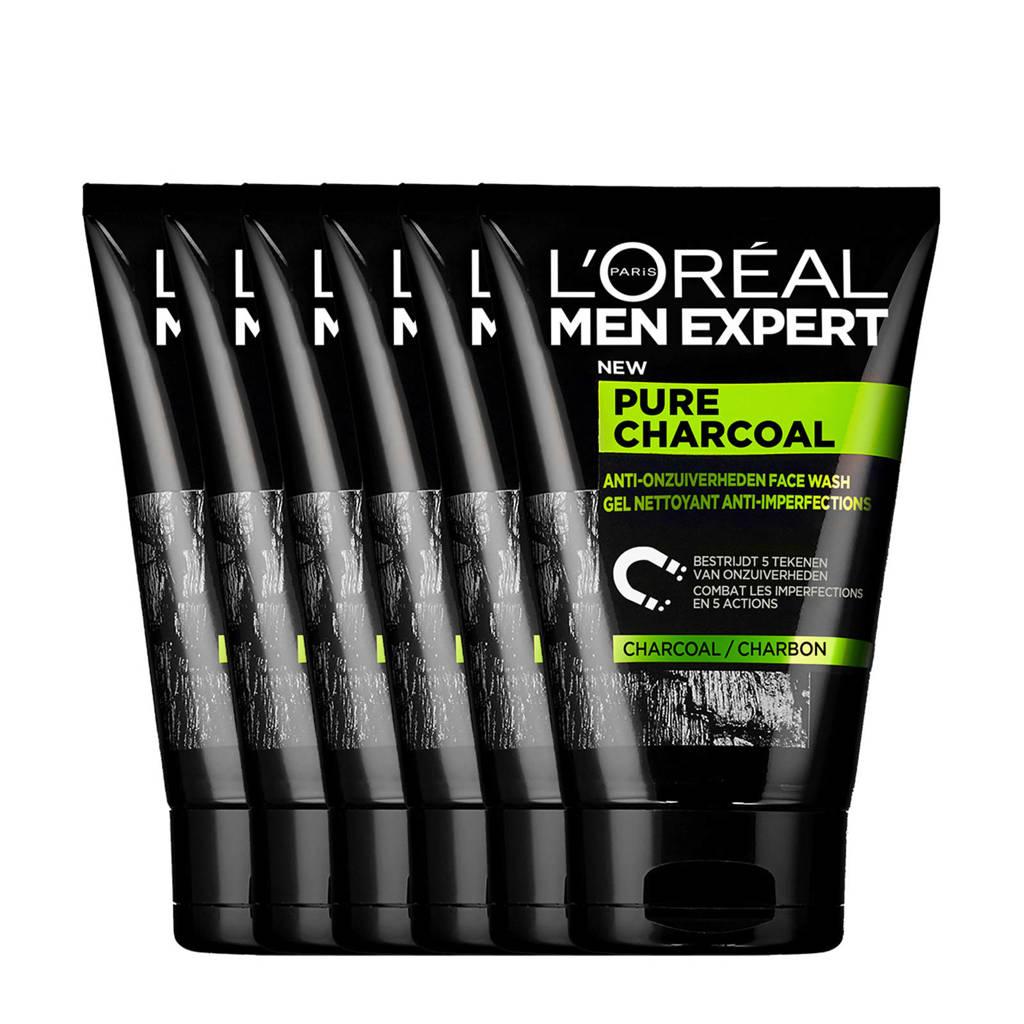 L'Oréal Paris Men Expert Pure Charcoal gezichtsreiniger - 6x 100ml multiverpakking