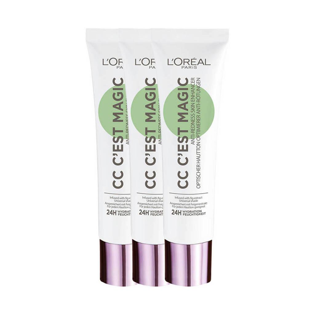 L'Oréal Paris CC C'est Magic CC Cream - 3 x 30ml multiverpakking, Anti Roodheid