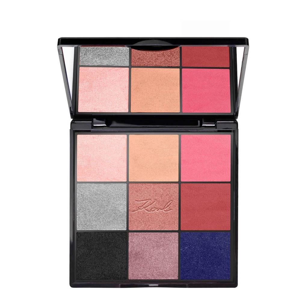 L'Oréal Paris x Karl Lagerfeld oogschaduw palette,  wit, beige, roze, goud, paars, roestbruinbruin, brons, grijs en donkerblauw