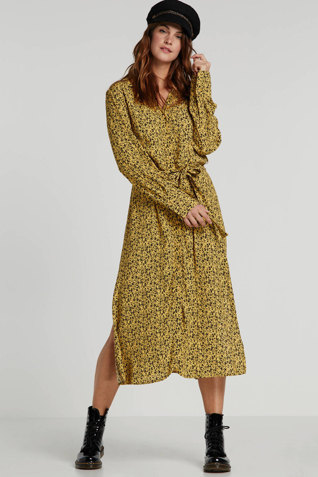 Soaked In Luxury blousejurk Halima met panterprint en ceintuur geel/zwart, Geel/zwart