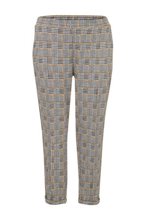 Plus geruite regular fit broek met zijstreep zwart/geel