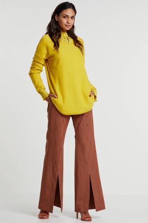 flared broek ChloeI met textuur bruin