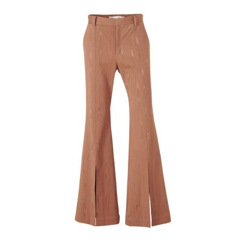 Inwear flared broek ChloeI met textuur bruin