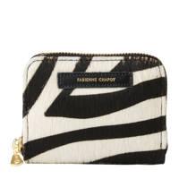Fabienne Chapot leren portemonnee mimi met zebra print, Zwart/ecru