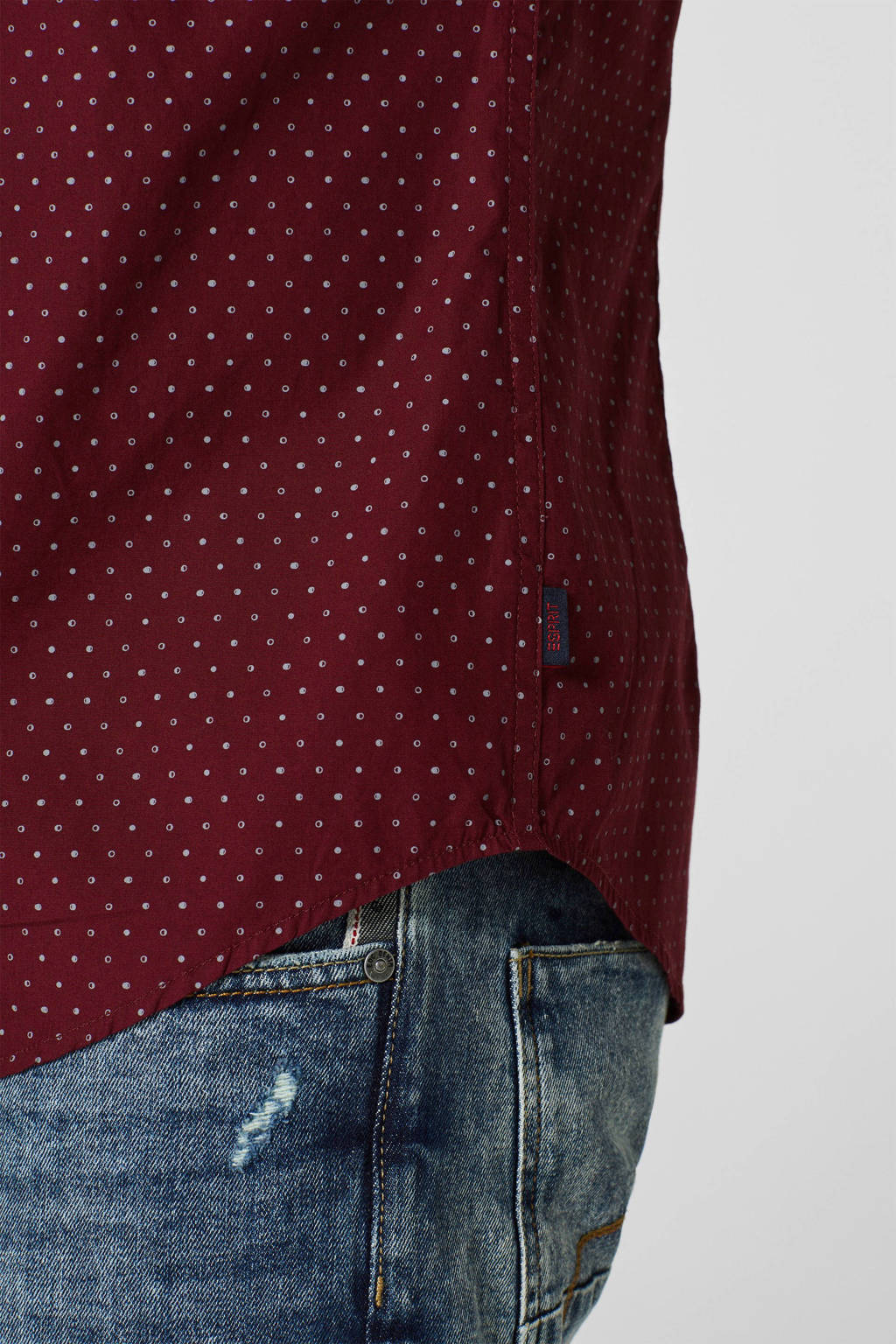 ESPRIT Men Casual slim fit overhemd met stippen donkerrood, Donkerrood
