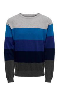 ONLY & SONS gestreepte trui blauw/grijs, Blauw/grijs