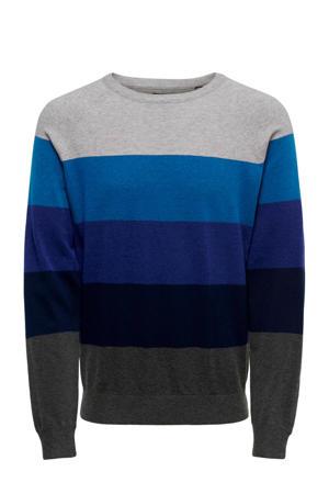 gestreepte trui blauw/grijs