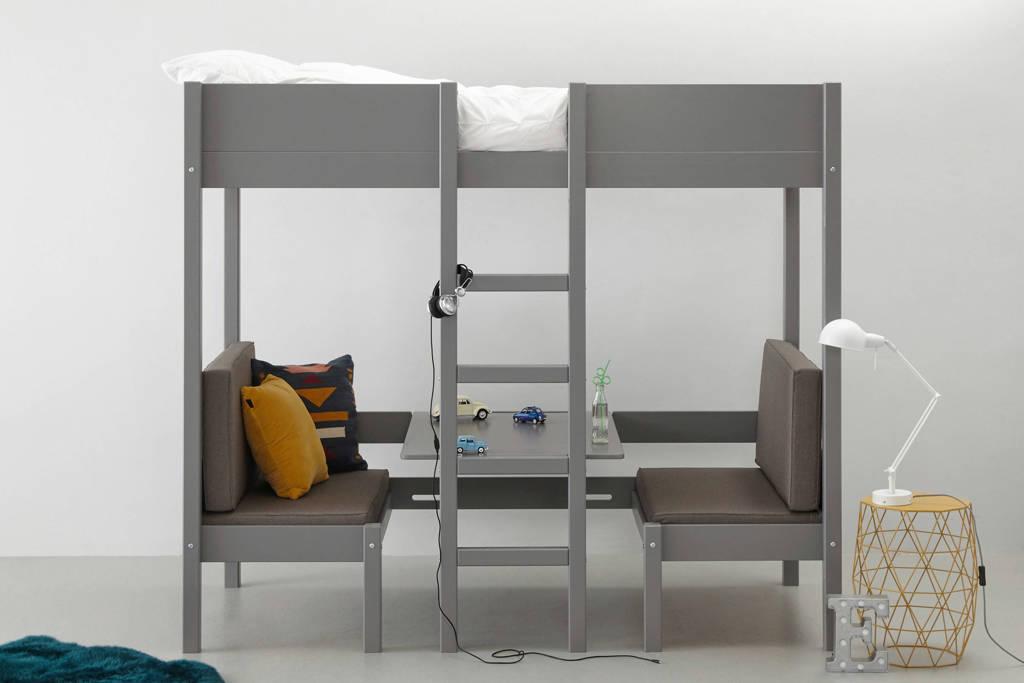 Wehkamp Home hoogslaper met zitje Charlie (90x200 cm), Grijs/Grijs