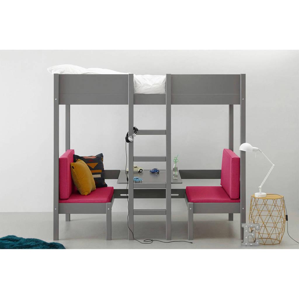whkmp's own hoogslaper met zitje Charlie (90x200 cm), Grijs/roze