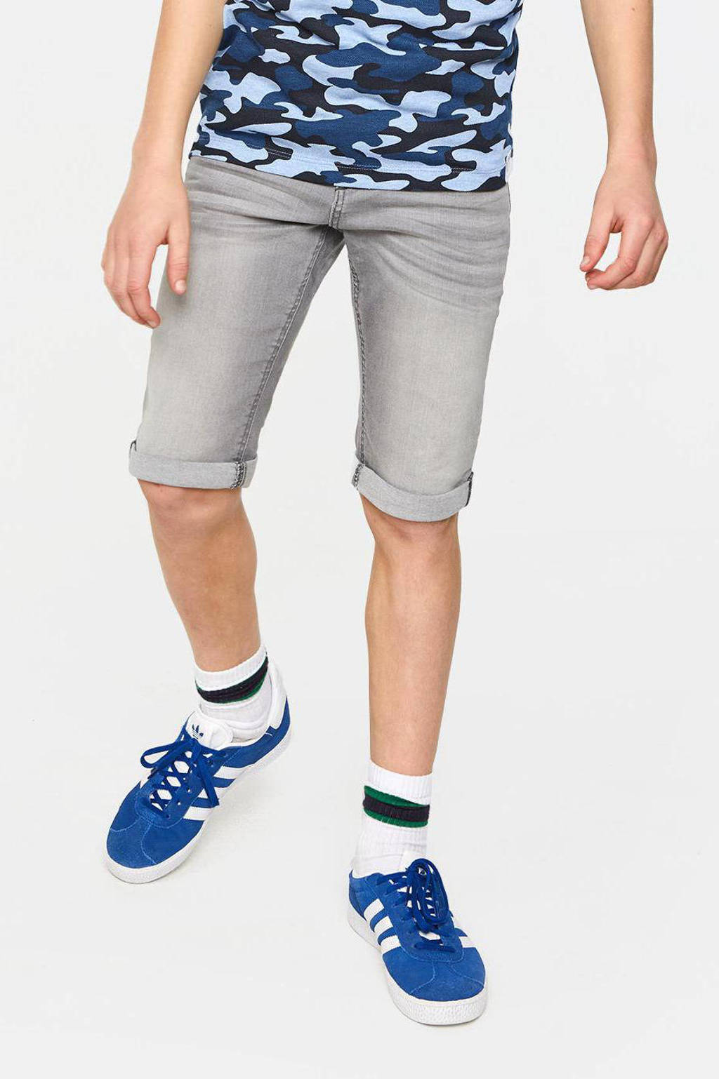 WE Fashion Blue Ridge slim fit jeans bermuda light grey denim, Light Grey Denim