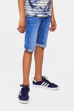 straight fit jeans bermuda blauw