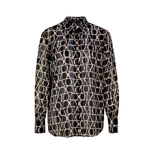 comma gestreepte semi-transparante blouse zwart mu