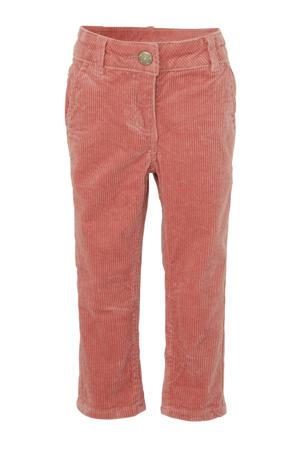 corduroy slim fit broek met textuur roze