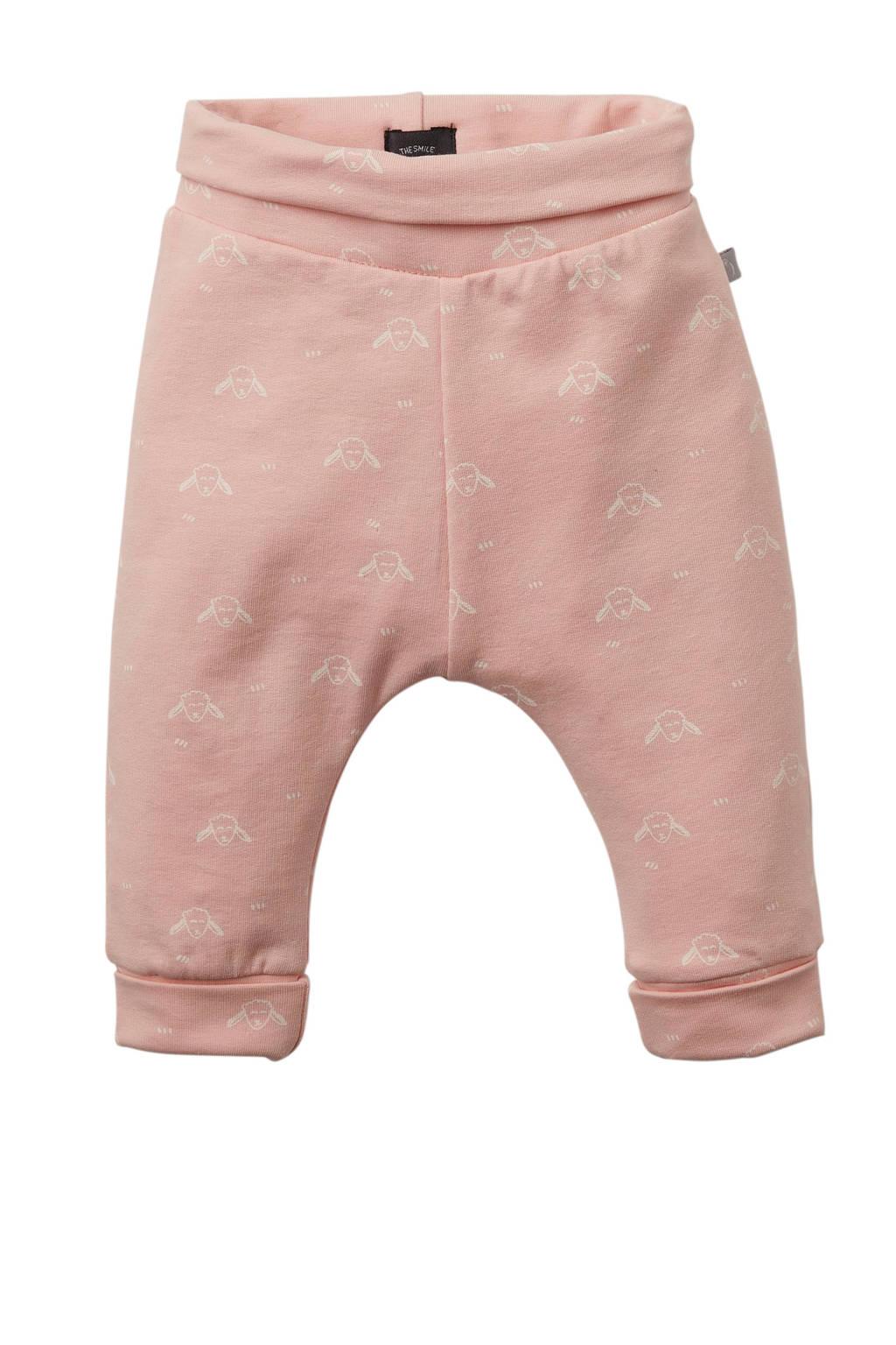 Babyface newborn broek met all over print lichtroze/wit, Lichtroze/wit