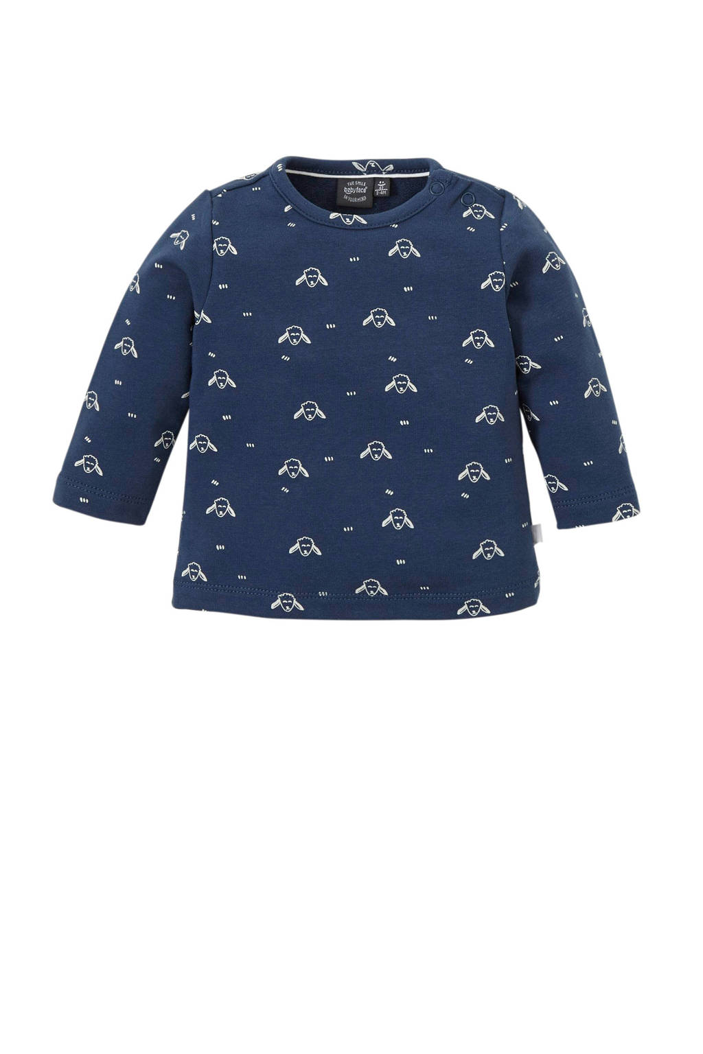 Babyface longsleeve met all over print donkerblauw/wit, Donkerblauw/wit