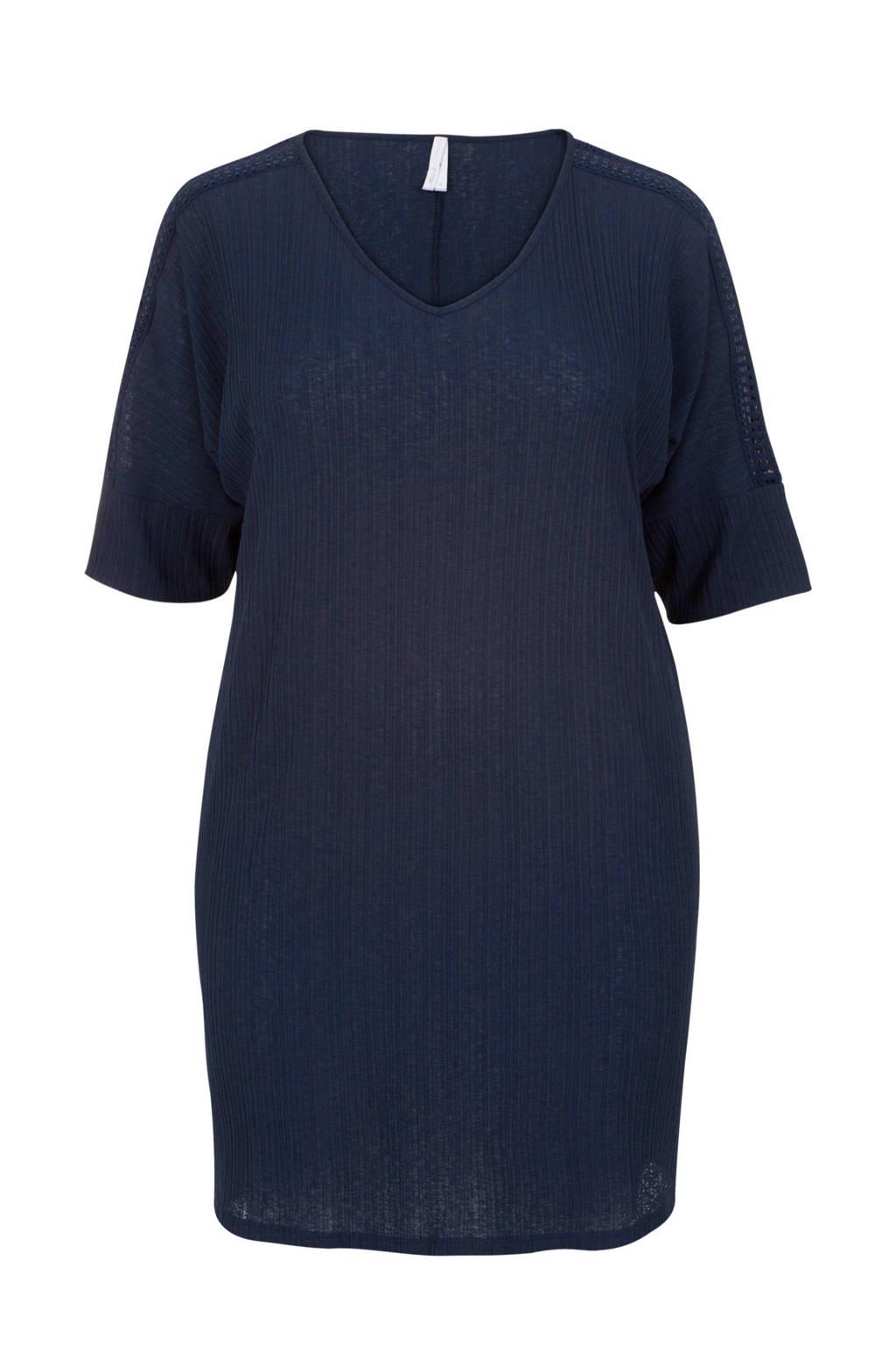 Miss Etam Plus tuniek met textuur blauw, Blauw