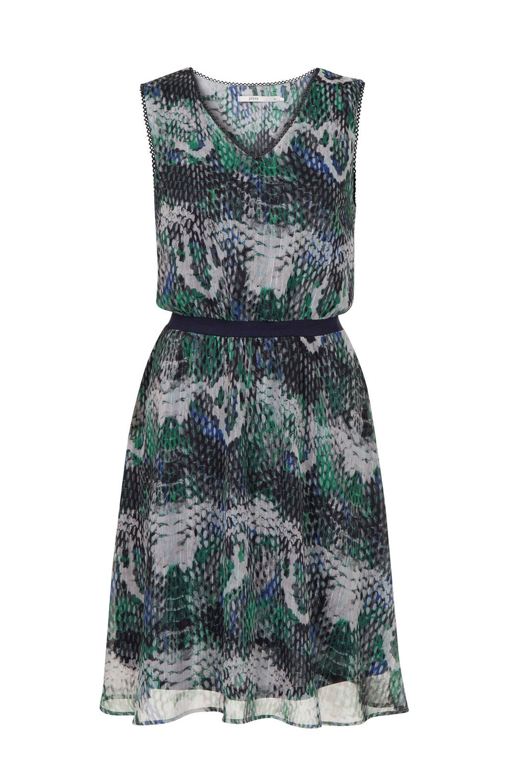 Steps jurk met all over print blauw multi, Blauw multi