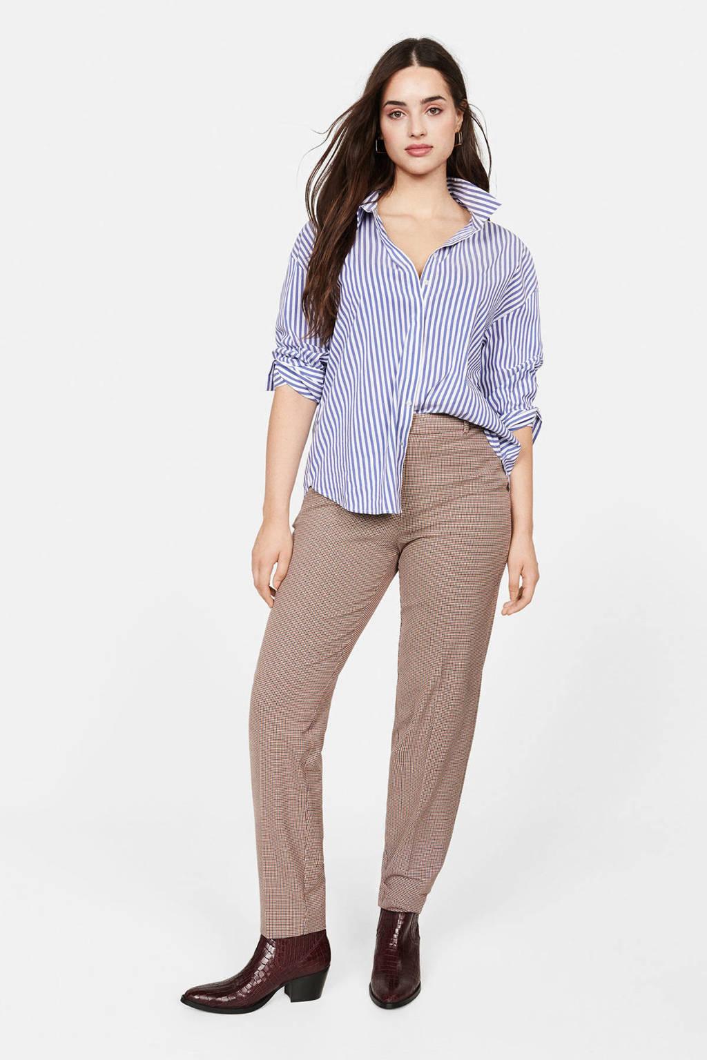 Violeta by Mango geruite slim fit pantalon donkerrood, Donkerrood