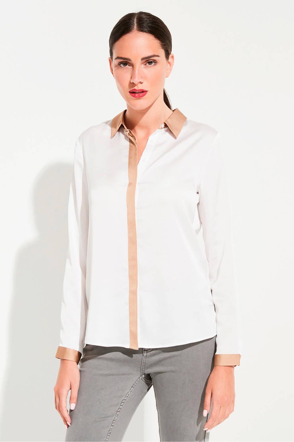 comma blouse met contrastbies wit, Wit