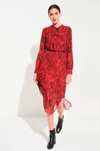 comma jurk met slangenprint en ceintuur rood, Rood