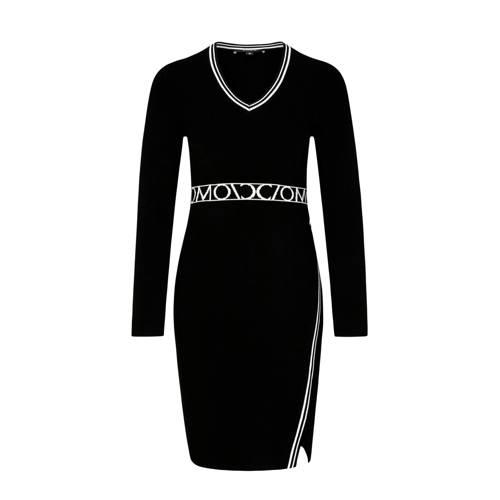 comma jurk met logo zwart