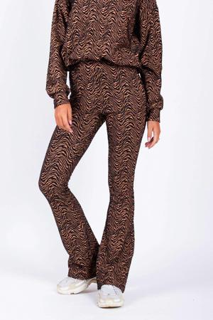 high waist flared broek Nina met zebraprint beige/zwart