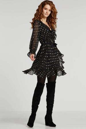 jurk Ceil met stippen en volant zwart/goud