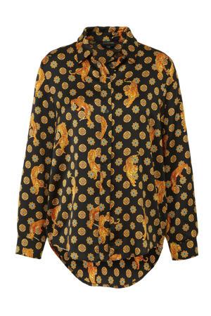 blouse Maddie met dierenprint zwart