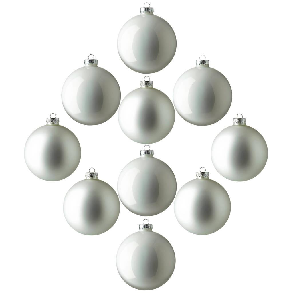 House of Seasons kerstbal (Ø6 cm) (set van 10), Wit