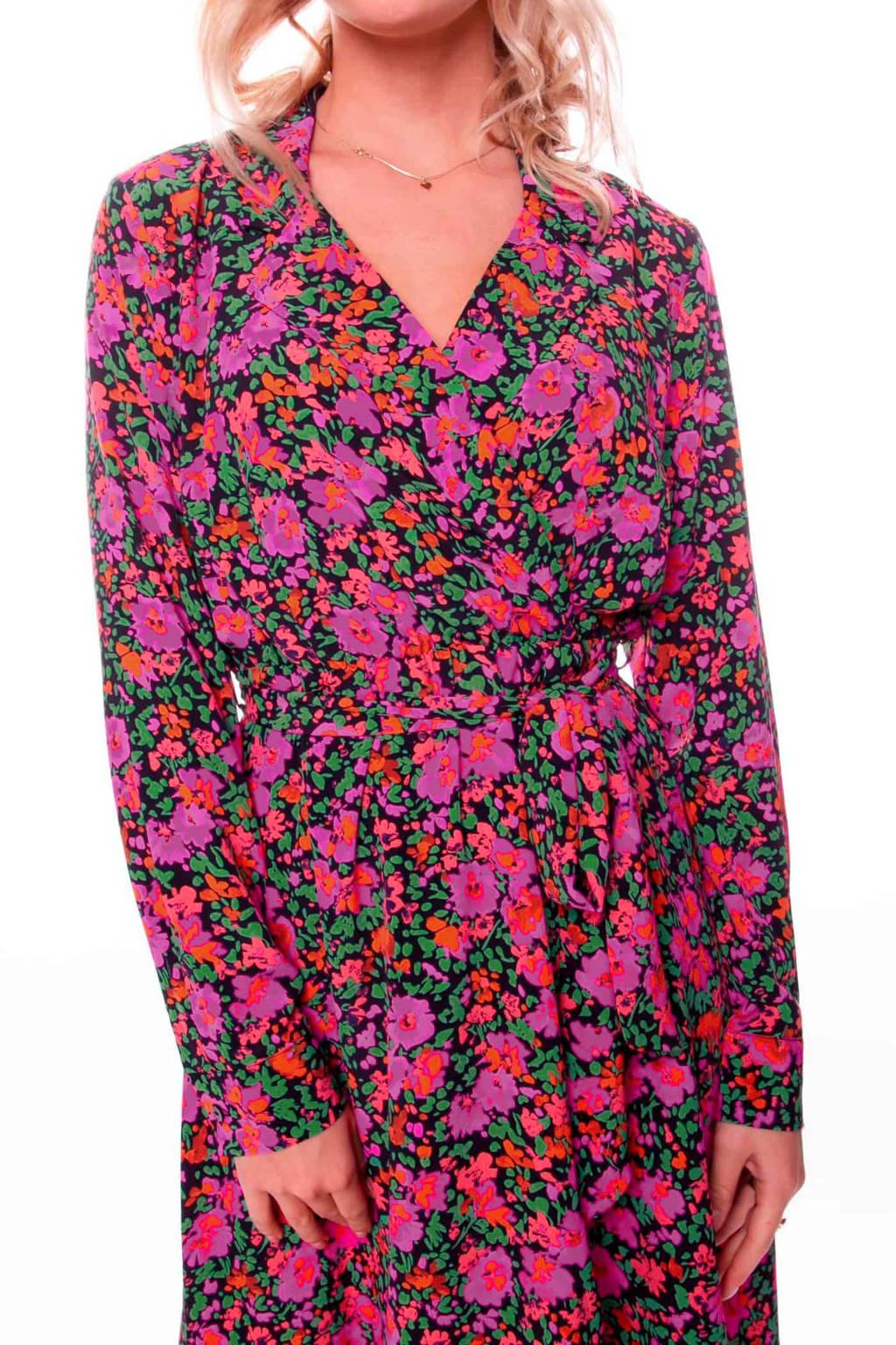 Colourful Rebel gebloemde maxi overslagjurk Vivian fuchsia, Fuchsia