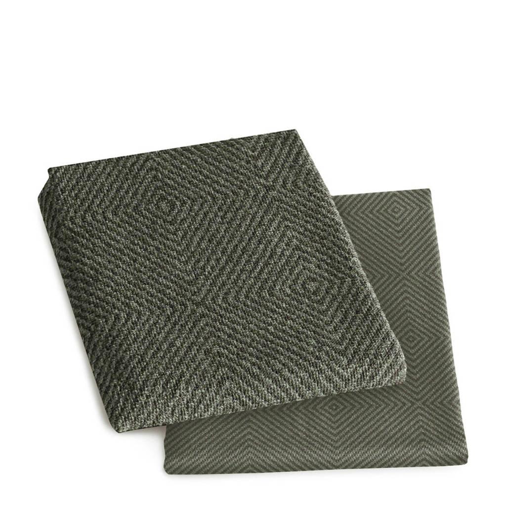 DDDDD Ciris thee- en keukenhanddoek (60x65 / 50x55 cm) (set van 2), Laurel