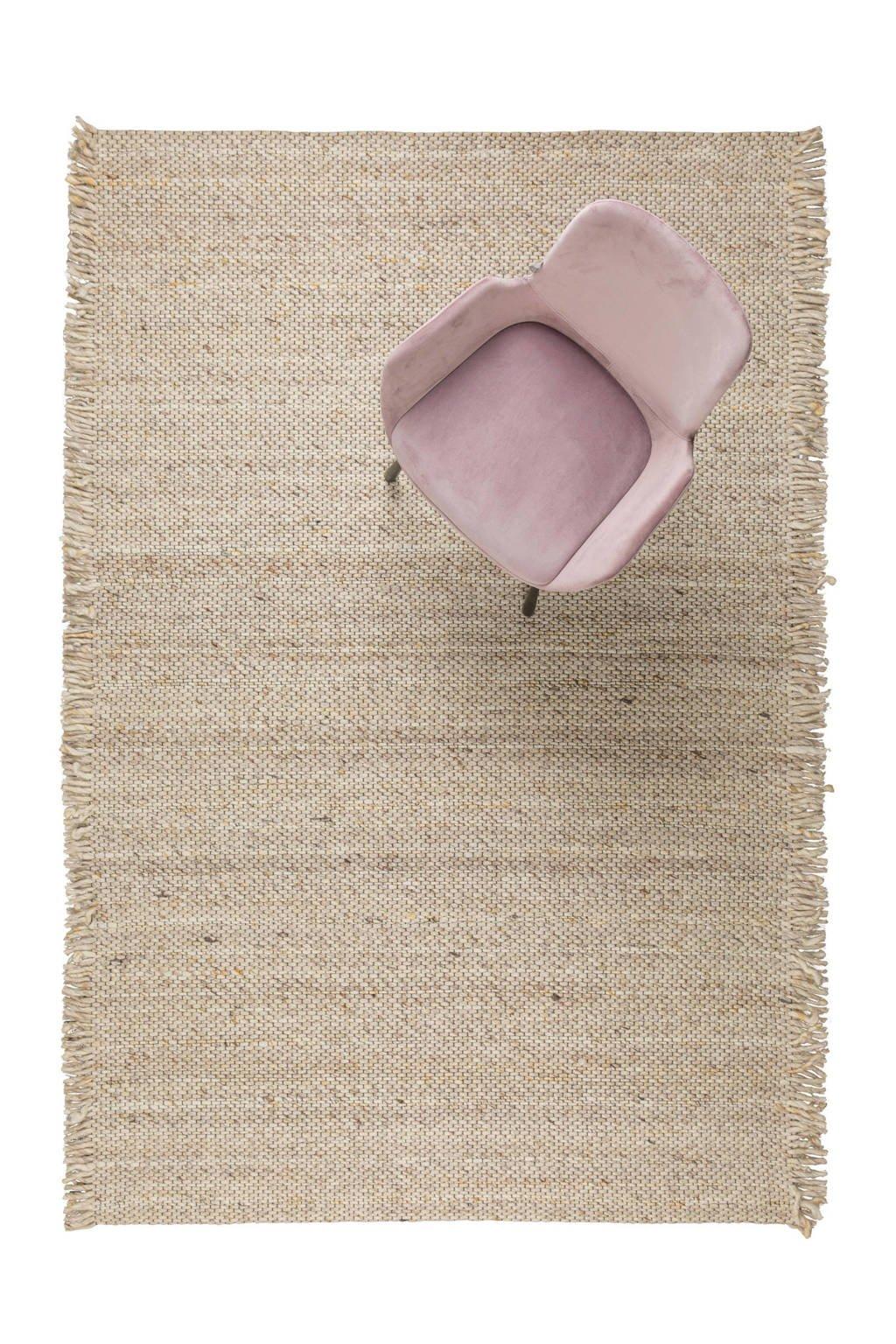 Zuiver wollen vloerkleed Frills  (240x170 cm), Beige/geel