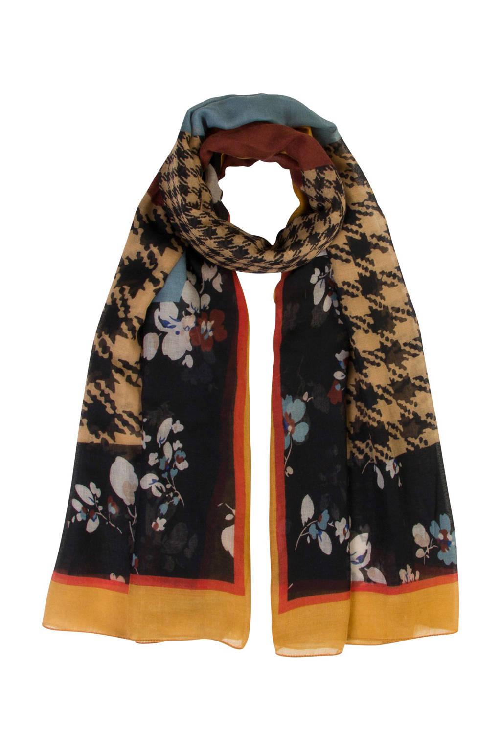 Miss Etam Accessoires sjaal met all over print zwart, Zwart/multi-kleuren