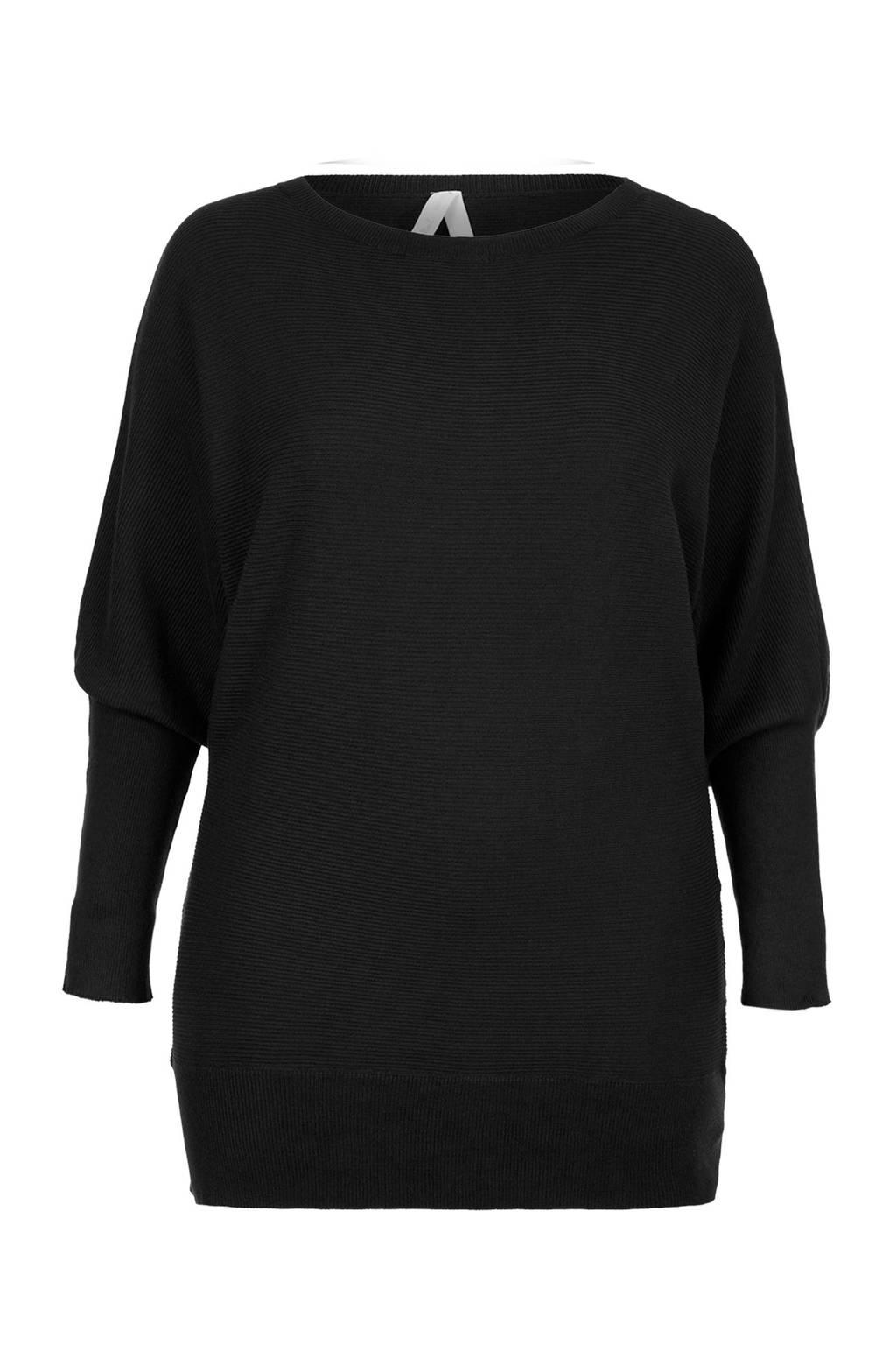 Miss Etam Plus ribgebreide trui zwart, Zwart