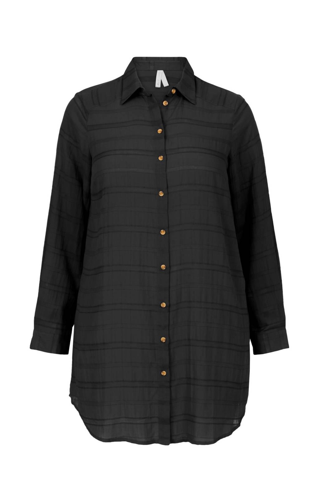 Miss Etam Plus gestreepte blouse zwart, Zwart