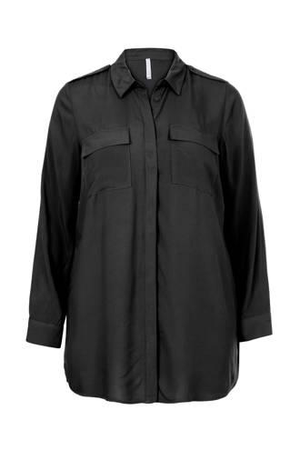 Plus blouse zwart
