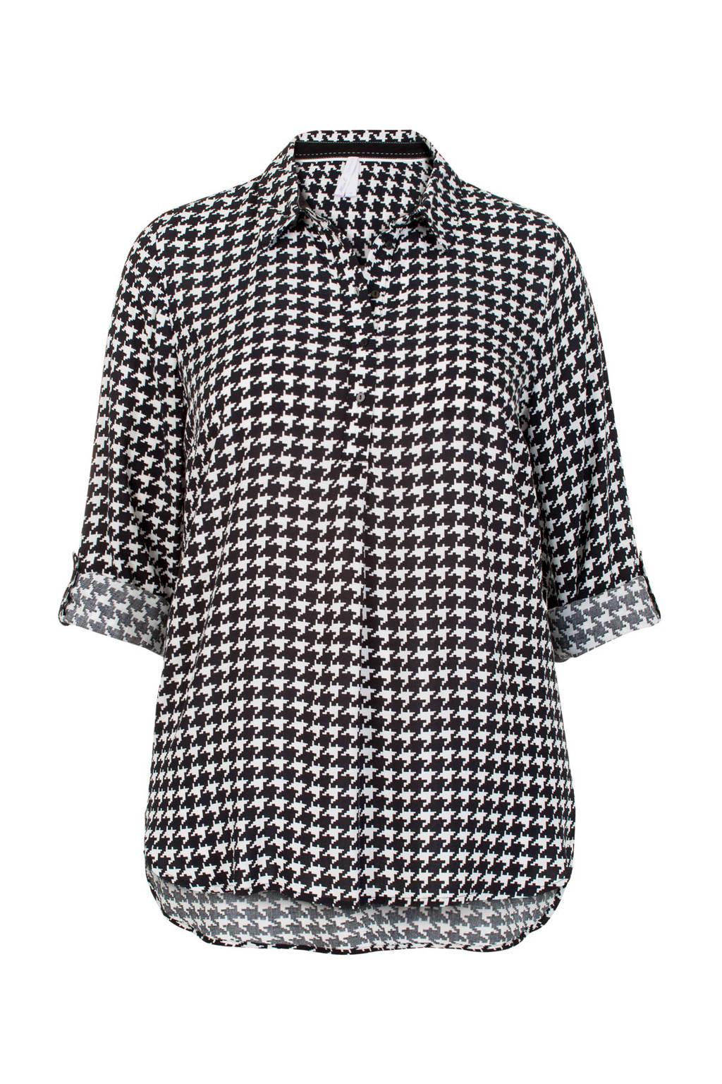 Miss Etam Plus blouse met pied-de-poule zwart/wit, Zwart/wit