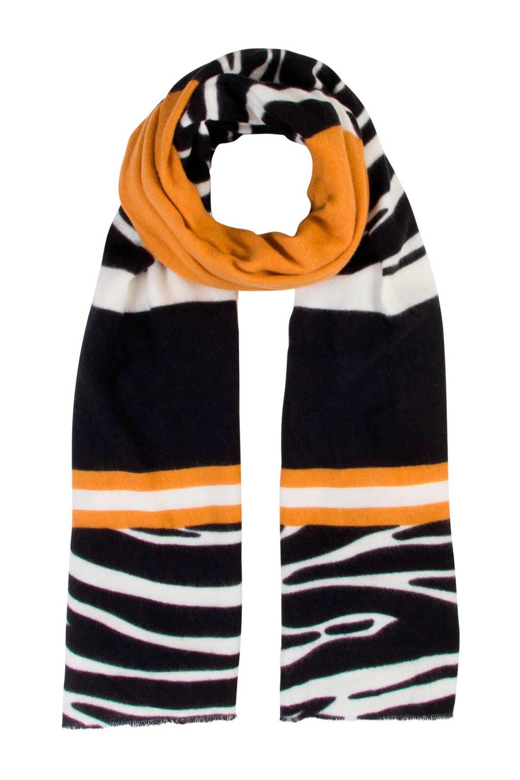 Miss Etam Accessoires gestreepte sjaal oranje, Oranje/zwart/wit