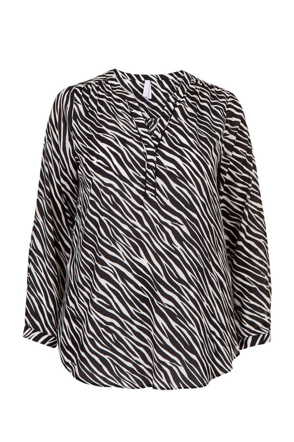 Miss Etam Plus top met zebraprint wit/zwart, Wit/zwart