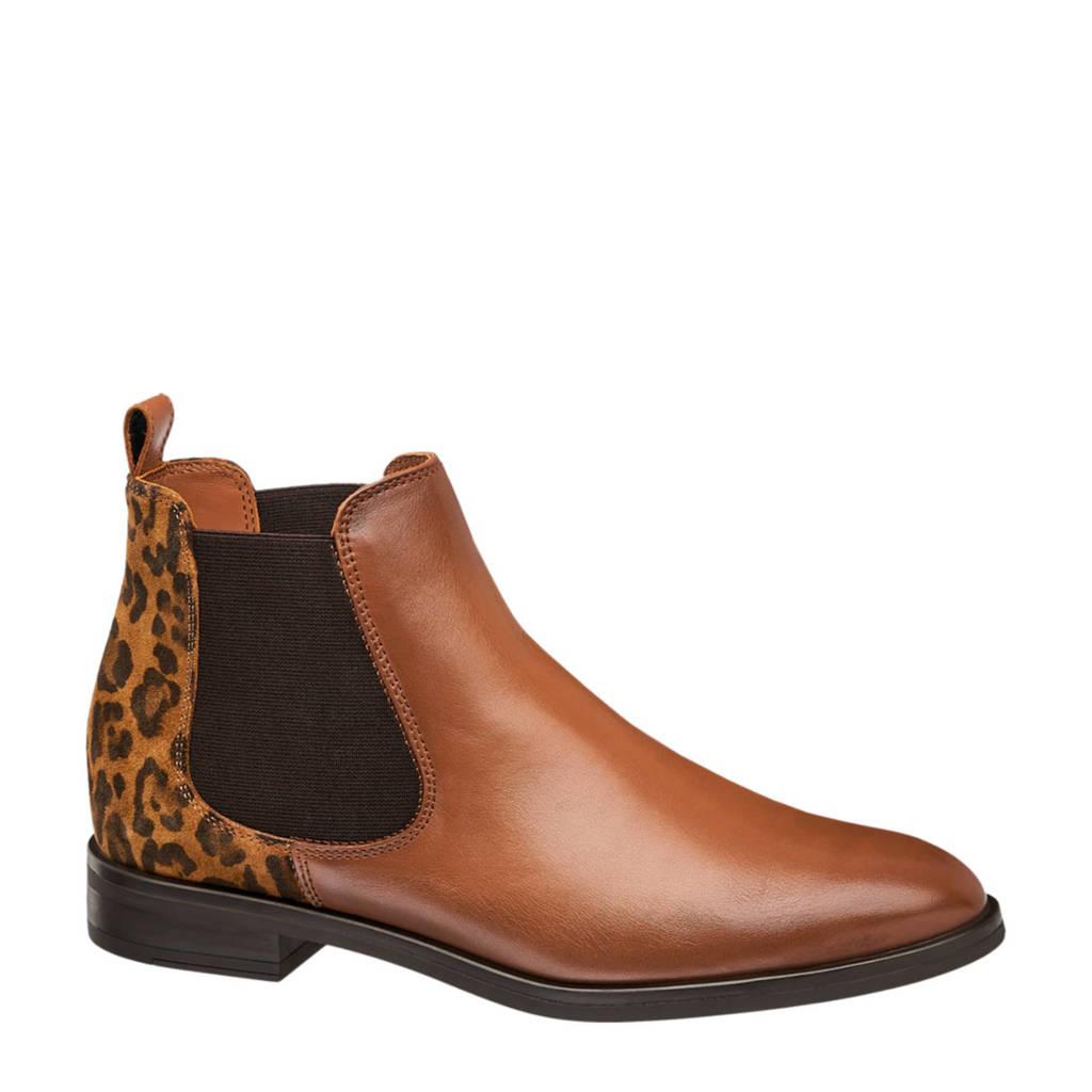 5th Avenue   leren chelsea boots panterprint, Bruin