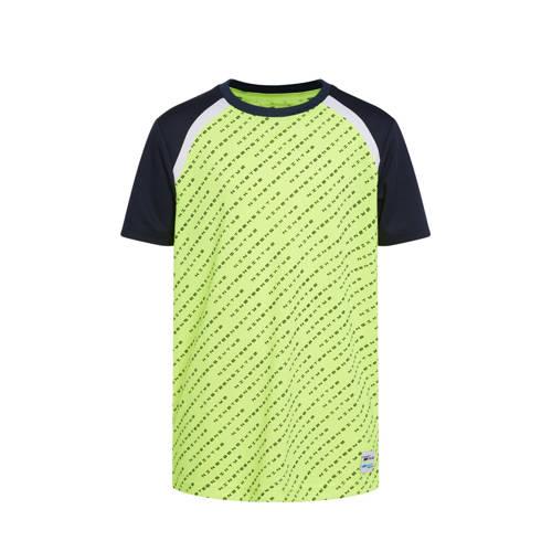 WE Fashion sport T-shirt limegroen/zwart