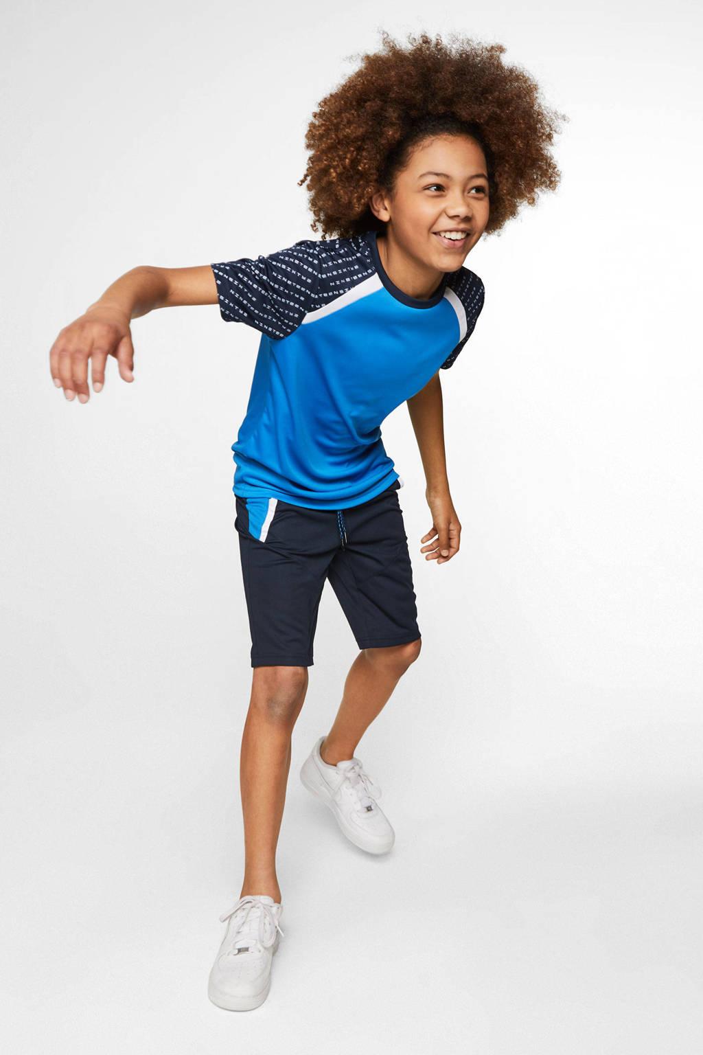 WE Fashion   sport T-shirt blauw, Blauw/zwart/wit