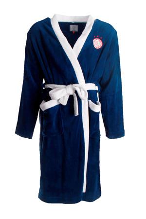 fleece badjas met logo senior donkerblauw/wit