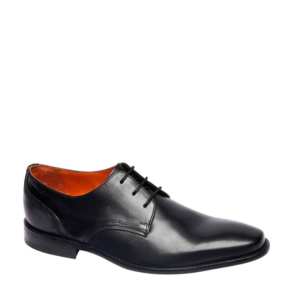 Van Lier 1956500  leren veterschoenen zwart, Zwart